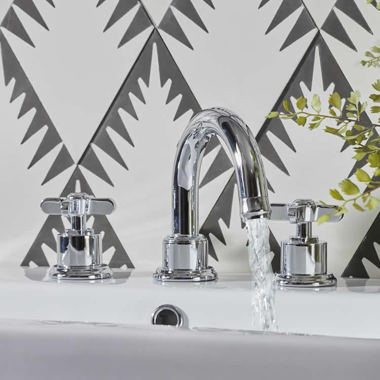 Roper Rhodes Wessex 3 Tap Hole Basin Mixer With Click Waste - Image 1