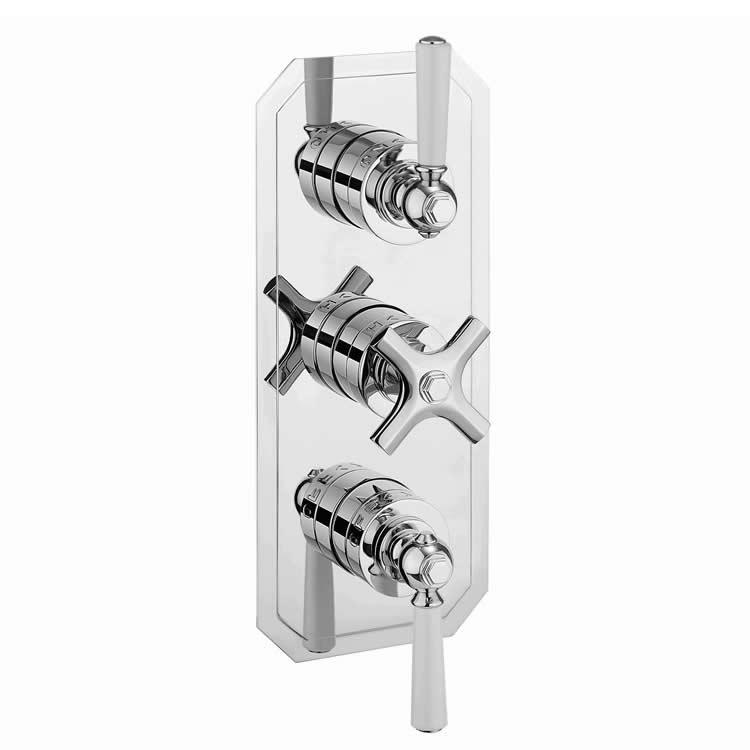 Photo of Crosswater Waldorf White Lever Triple Outlet Shower Valve with Diverter