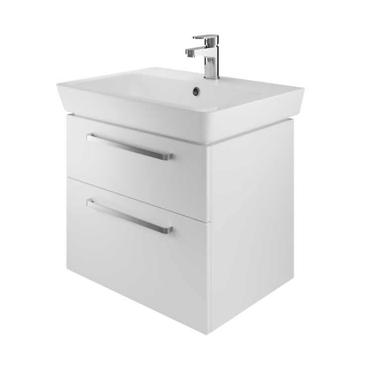 Photo of The White Space 600mm Wall Hung Vanity Unit & Basin - Gloss White Finish
