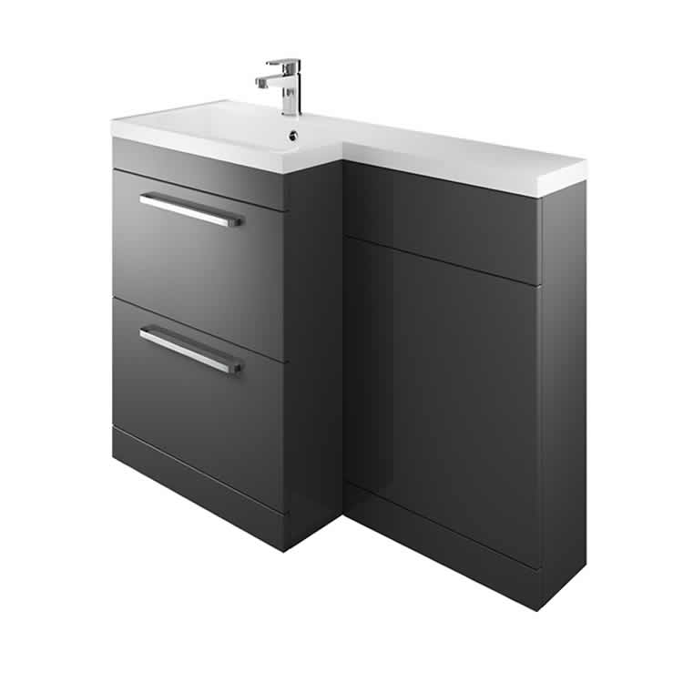 Photo of The White Space Gloss Charcoal L Shaped Unit & Basin Left Hand