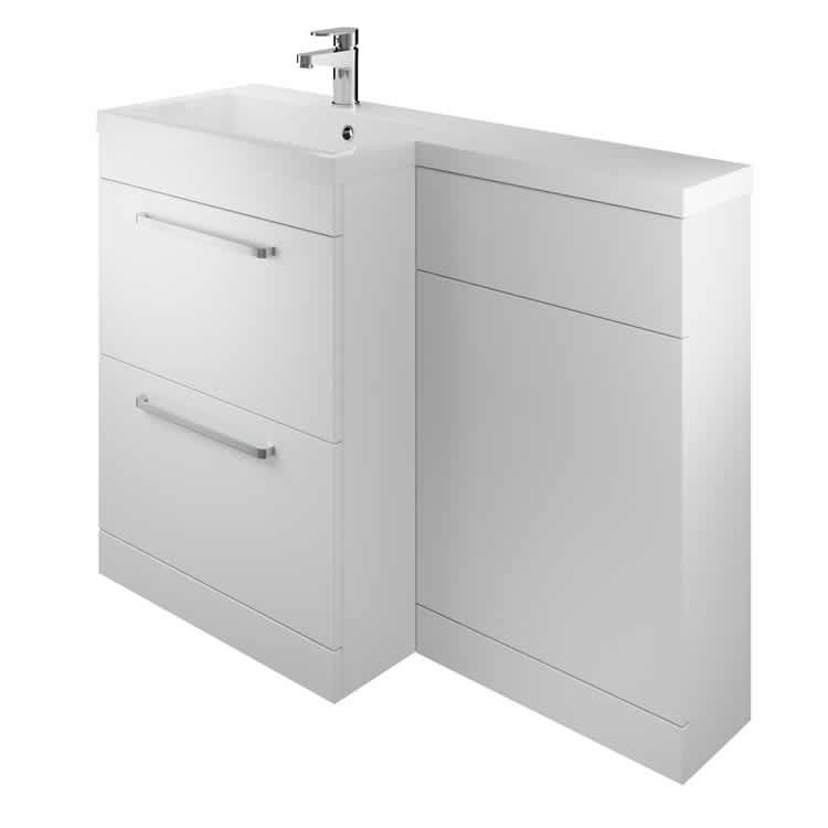 Photo of The White Space Gloss White L Shaped Unit & Basin - Left Hand