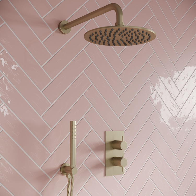 Photo of Zero Brushed Brass Fixed Head Shower Pack with Handset