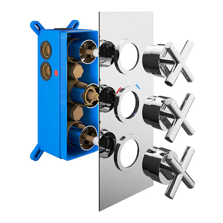 Photo of Abacus Emotion Chrome Triple Outlet Crosshead Thermostatic Shower Valve