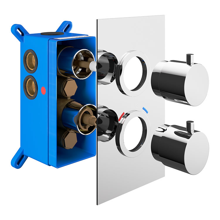 Photo of Abacus Emotion Chrome Twin Outlet Concealed Shower Valve