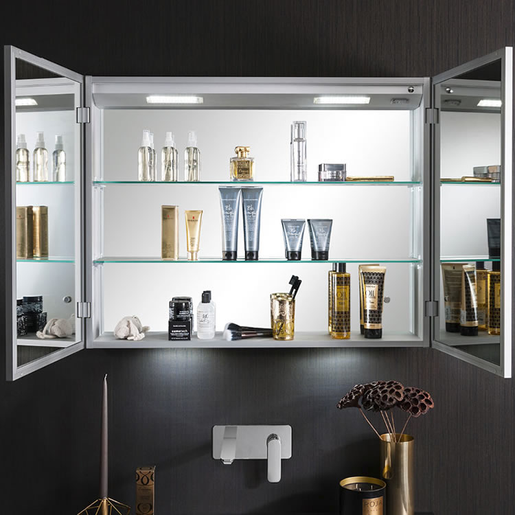 Crosswater Allure 900mm Led Illuminated Mirrored Cabinet Mirrored Bathroom Cabinets With Lights Sanctuary Bathrooms