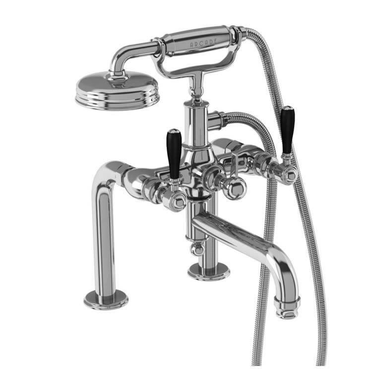 Photo of Arcade Chrome Deck Mounted Bath Shower Mixer with Choice of Handle