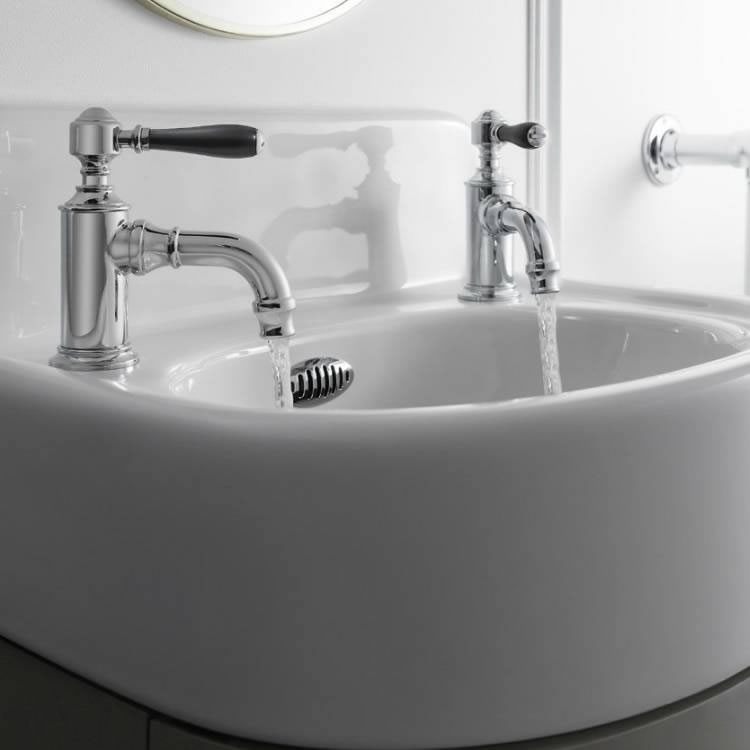 Arcade Chrome Lever Cloakroom Basin Pillar Taps with Choice of Handle