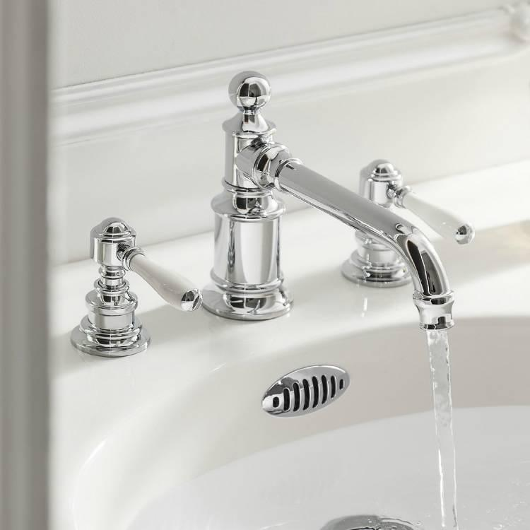 Photo of Arcade Chrome Lever Three Tap Hole Basin Mixer with White Handle