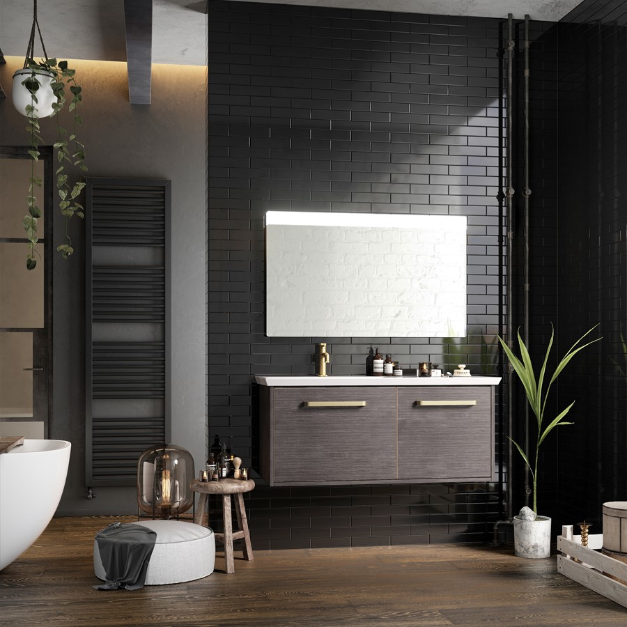 Lifestyle Photo of Crosswater Bauhaus Arena 1000mm Steel Wall Hung Unit & Basin