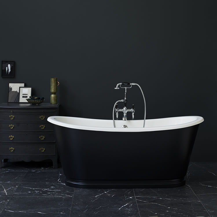 Lifestyle Photo of Clearwater Balthazar Clear Stone Black Freestanding Bath