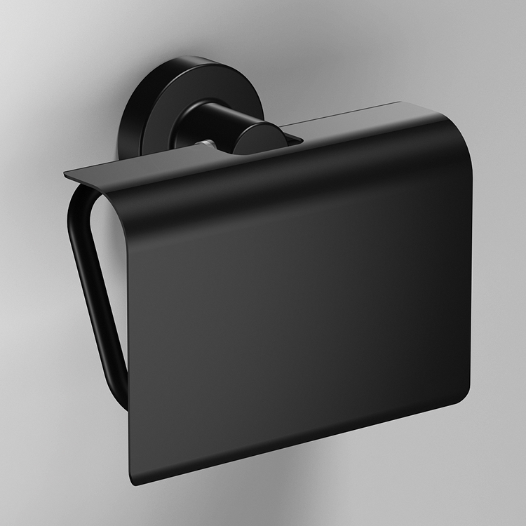 Photo of Bathroom Origins Tecno Project Black Toilet Roll Holder with Flap
