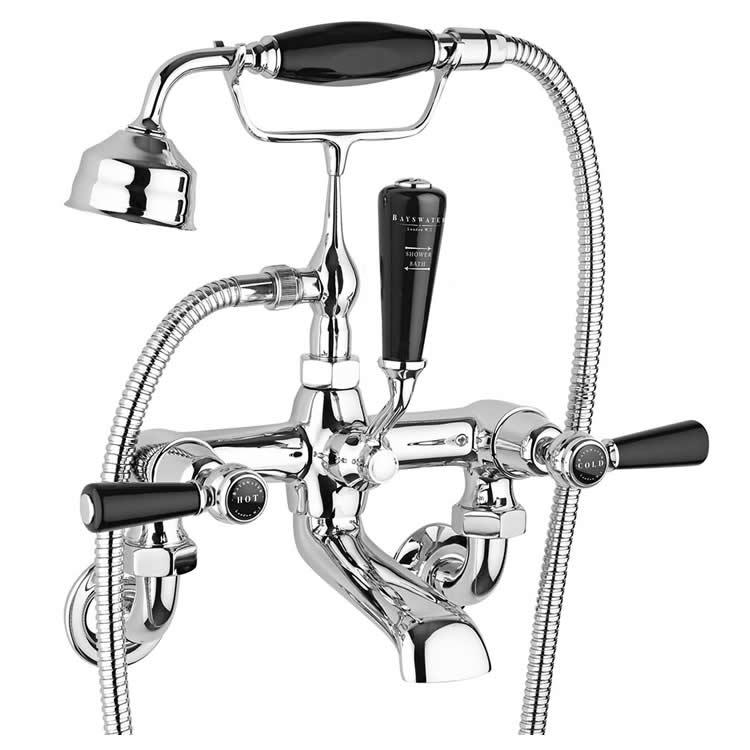 Photo of Bayswater Lever Black & Chrome Wall Mounted Bath Shower Mixer