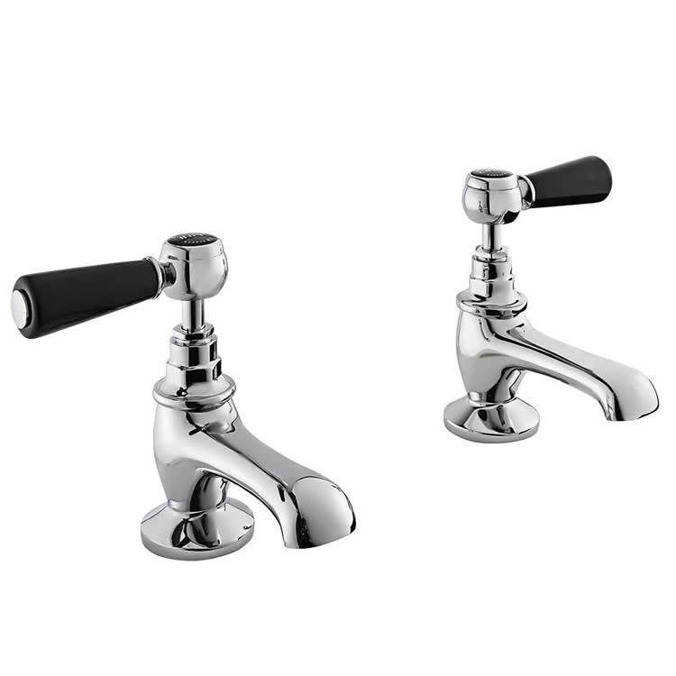 Photo of Bayswater Lever Black & Chrome Basin Taps with