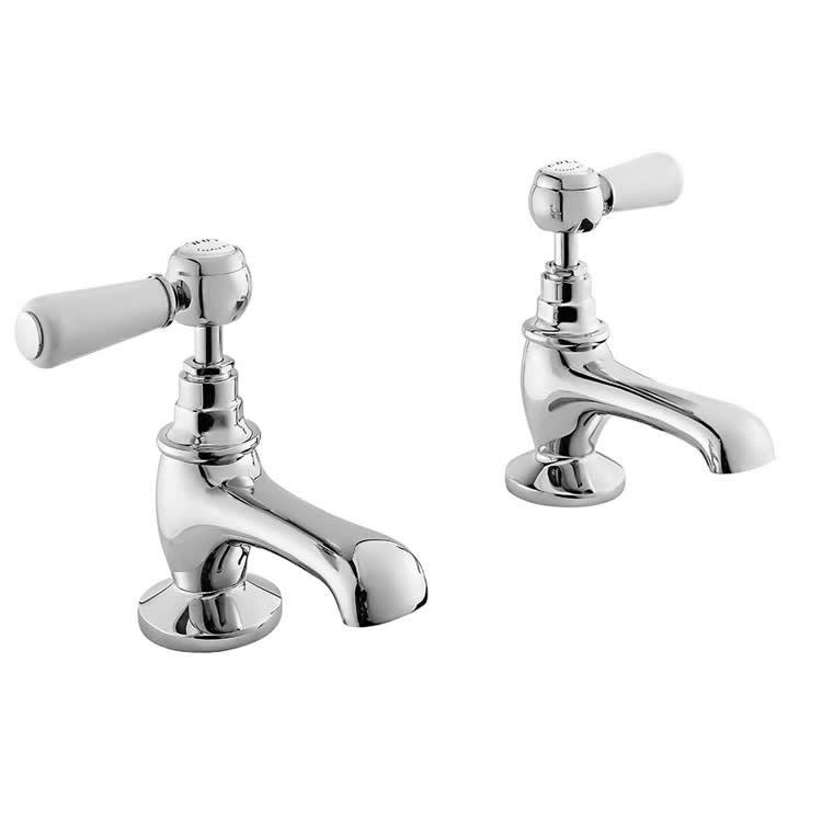 Photo of Bayswater Lever White & Chrome Basin Taps with Hexagonal Collars