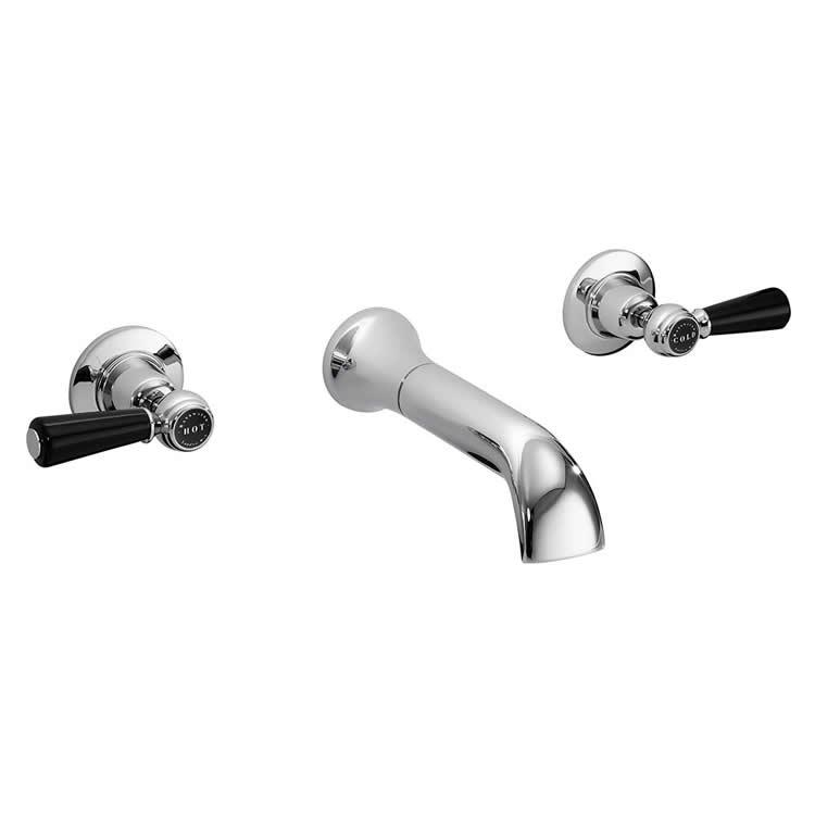Photo of Bayswater Lever Black & Chrome Wall Mounted Basin Filler
