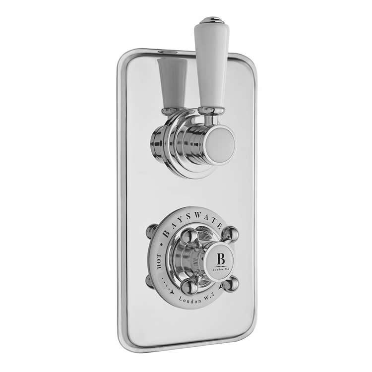 Photo of Bayswater White & Chrome Two Outlet Concealed Shower Valve