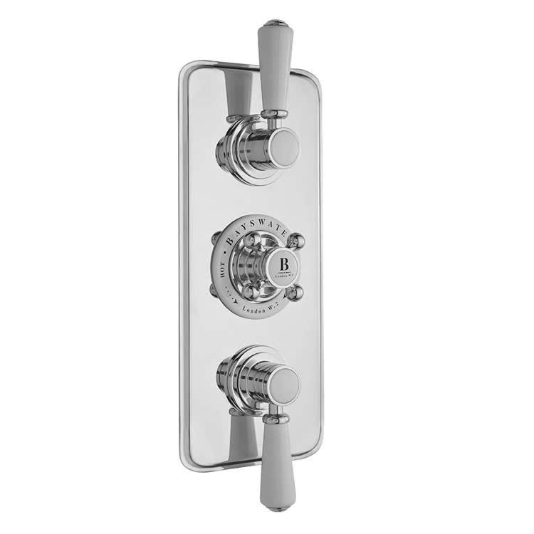 Photo of Bayswater White & Chrome Triple Outlet Concealed Shower Valve with Diverter
