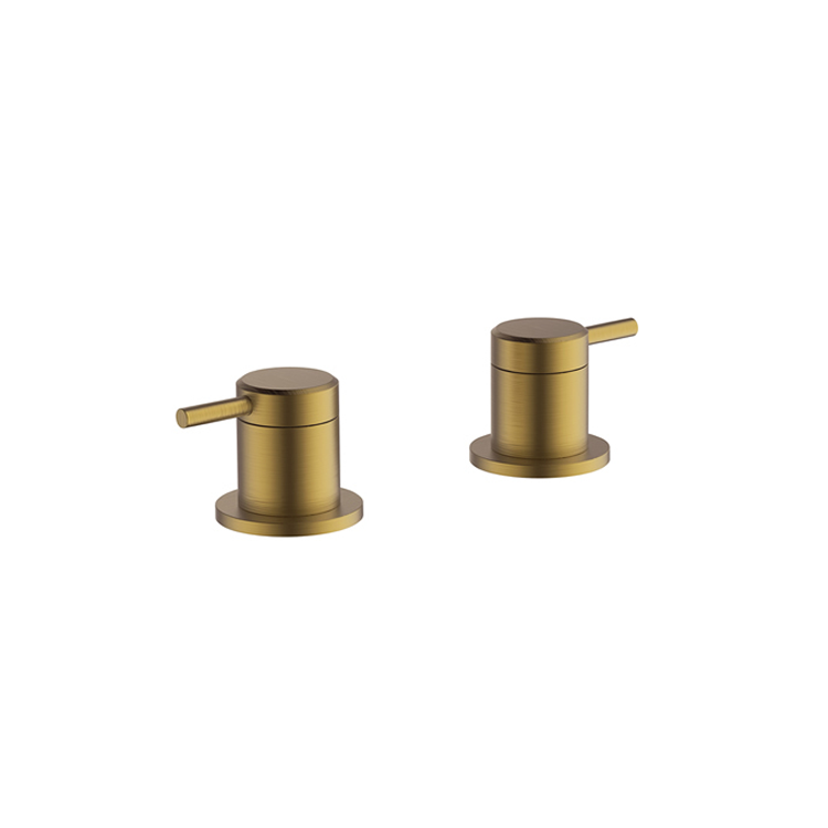Photo of Britton Bathrooms Hoxton Brushed Brass Deck Mounted Valves