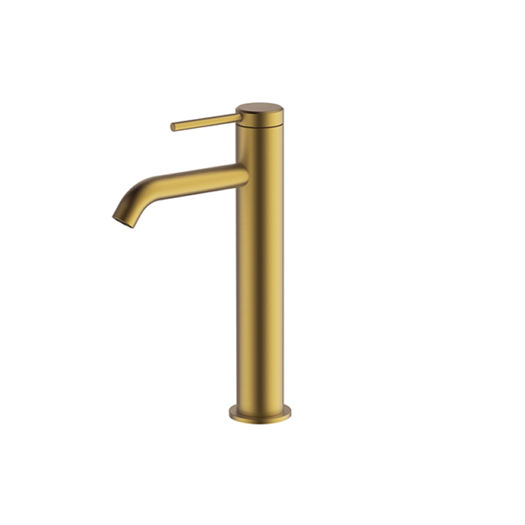 Photo of Britton Bathrooms Hoxton Brushed Brass Tall Basin Mixer