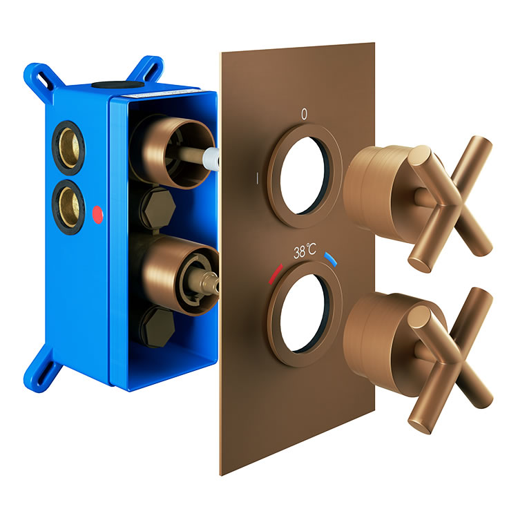Photo of Abacus Emotion Brushed Bronze Single Outlet Crosshead Thermostatic Shower Valve