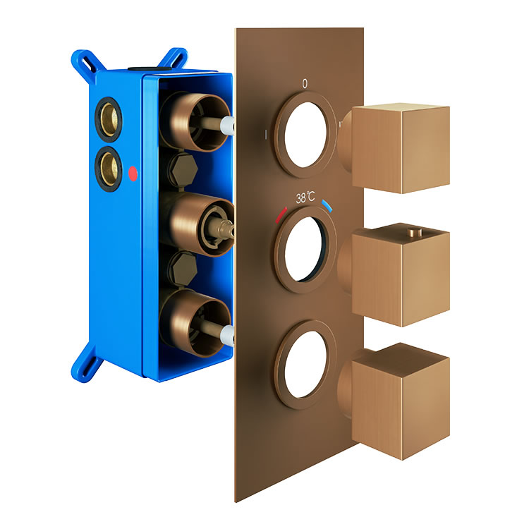 Photo of Abacus Emotion Brushed Bronze Triple Outlet Square Thermostatic Shower Valve