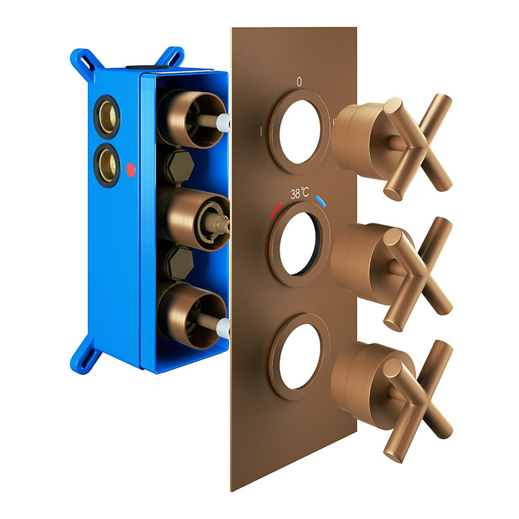 Photo of Abacus Emotion Brushed Bronze Triple Outlet Crosshead Thermostatic Shower Valve