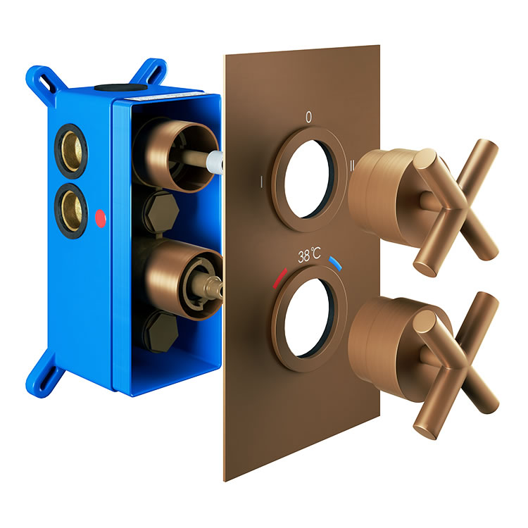 Photo of Abacus Emotion Brushed Bronze Twin Outlet Crosshead Thermostatic Shower Valve