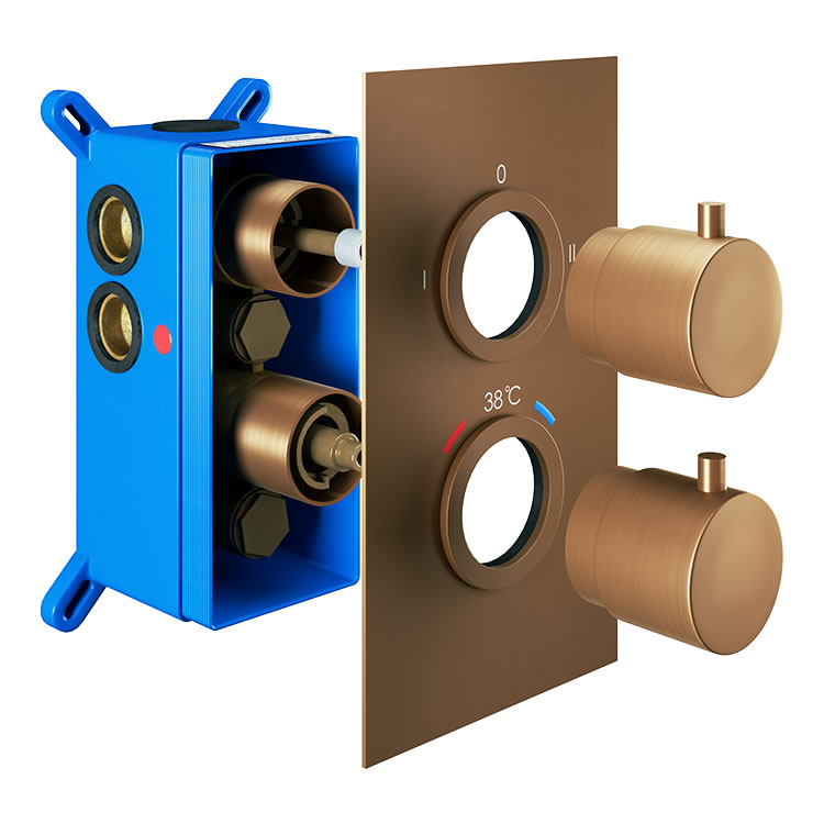 Photo of Abacus Emotion Brushed Bronze Twin Outlet Concealed Shower Valve