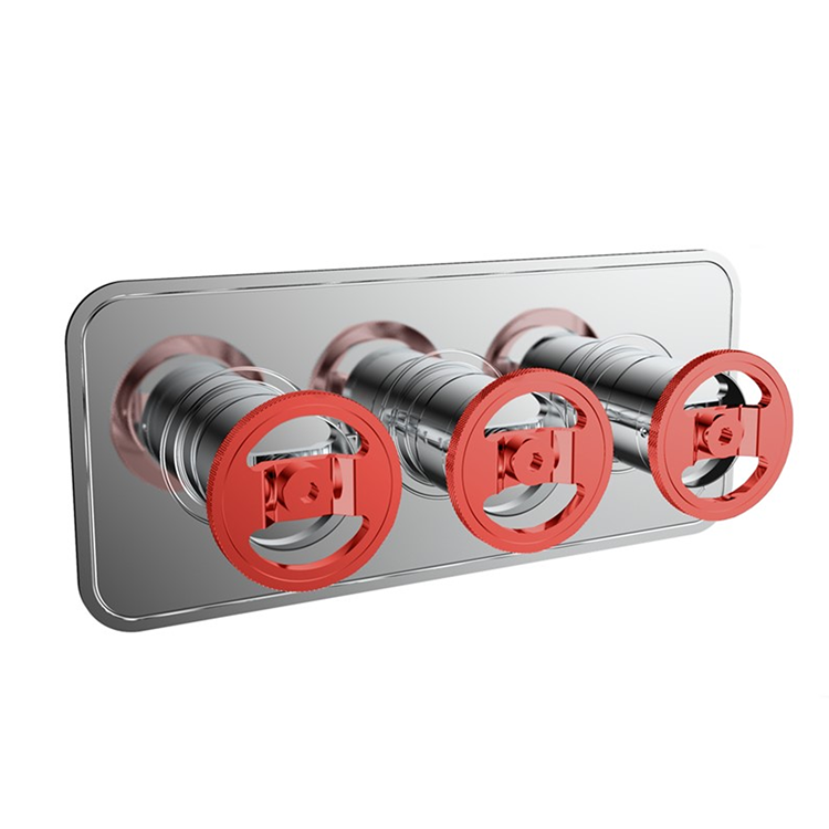 Photo of Crosswater Union Chrome Red Wheel Landscape Shower Valve With 3 Way Diverter