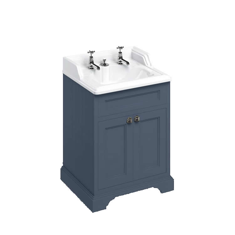 Burlington Blue 670mm Vanity Unit With Doors & Classic Basin With Invisible Overflow