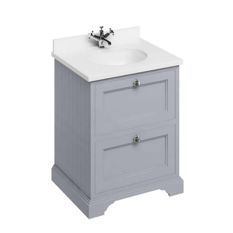 Photo of Burlington Classic Grey 670mm Freestanding Vanity with Drawers and Minerva White Basin