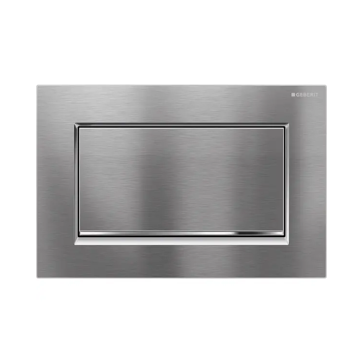 Photo of Geberit Sigma30 Stop & Go Flush Plate in Brushed & Gloss Chrome Finish