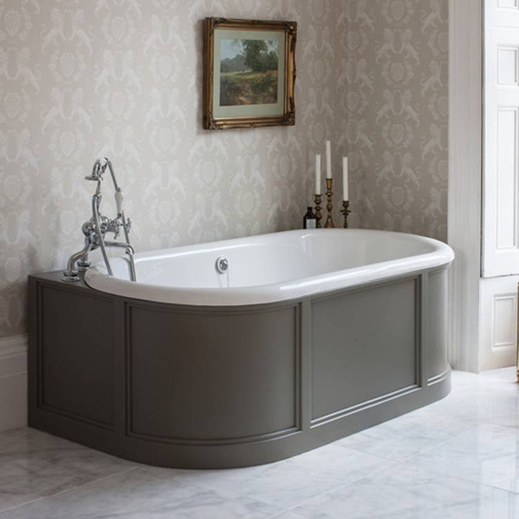 Burlington London Back To Wall Bath with Curved Surround, Overflow & Waste