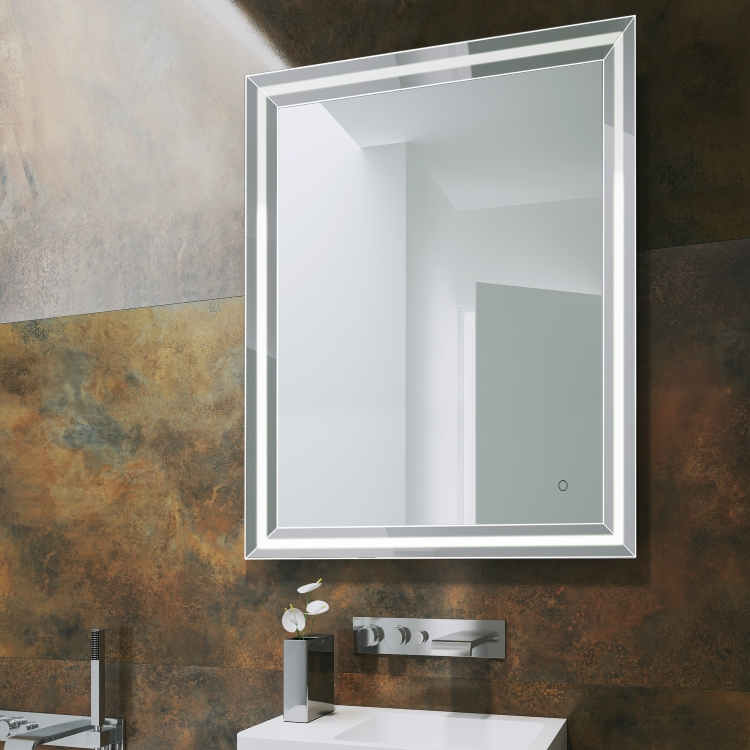 Image of Bathroom Origins Ravenna Light Mirror against a dark patterned wall in a bathroom with basin and tap