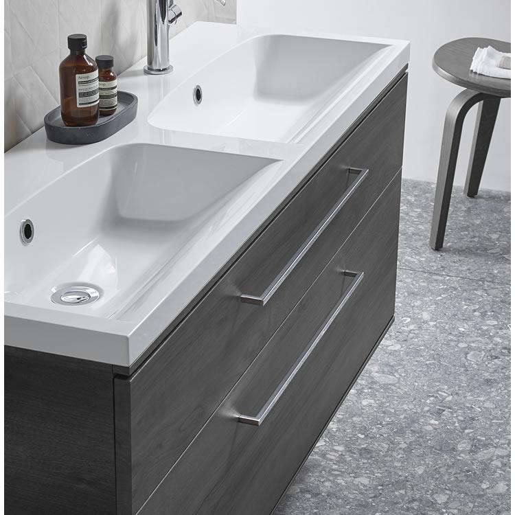 Roper Rhodes Scheme 1200mm Umbra Wall Mounted Vanity Unit with Double Basin - Image 1