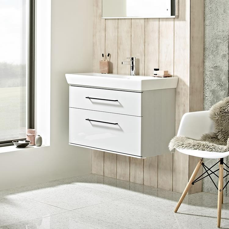 Roper Rhodes Scheme 800mm Gloss Light Grey Wall Mounted Vanity Unit and Basin - Image 1