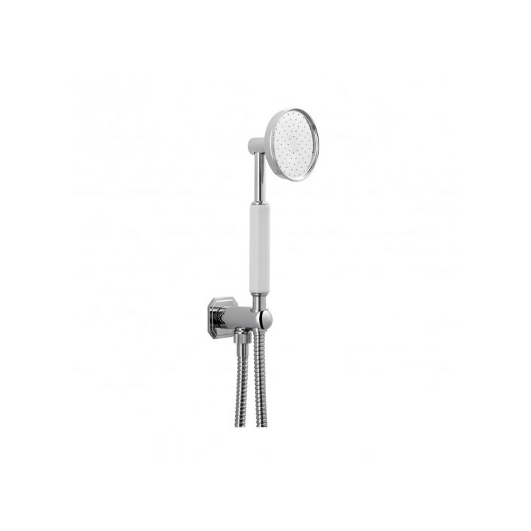 Crosswater Waldorf Shower Handset with White Handle, Wall Outlet & Hose