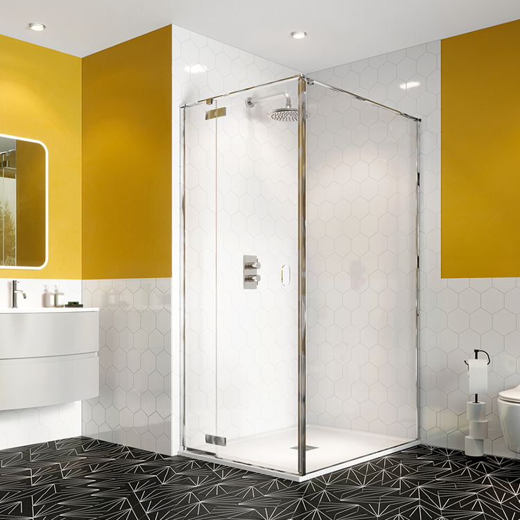 Photo of Crosswater Svelte 8 Hinged Shower Door with Inline Panel with Side Panel
