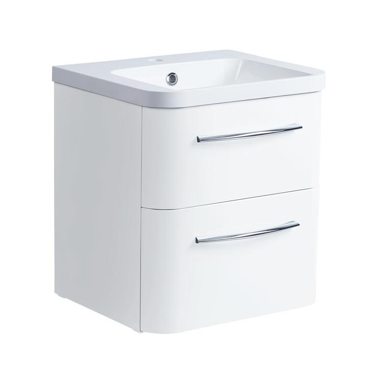 Roper Rhodes System 500mm Gloss White Wall Mounted Vanity Unit and Basin Image 1