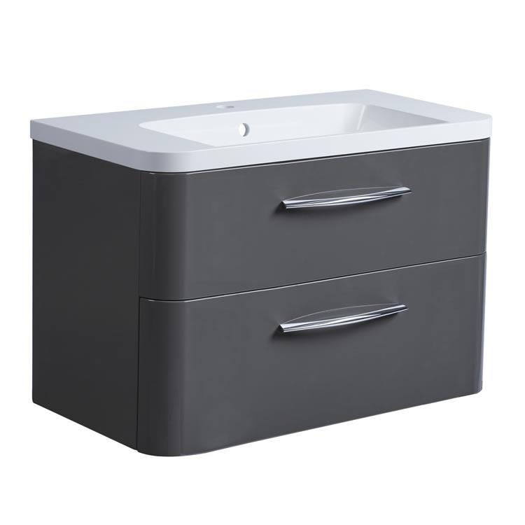 Roper Rhodes System 800mm Gloss Dark Clay Wall Mounted Vanity Unit and Basin Image 1