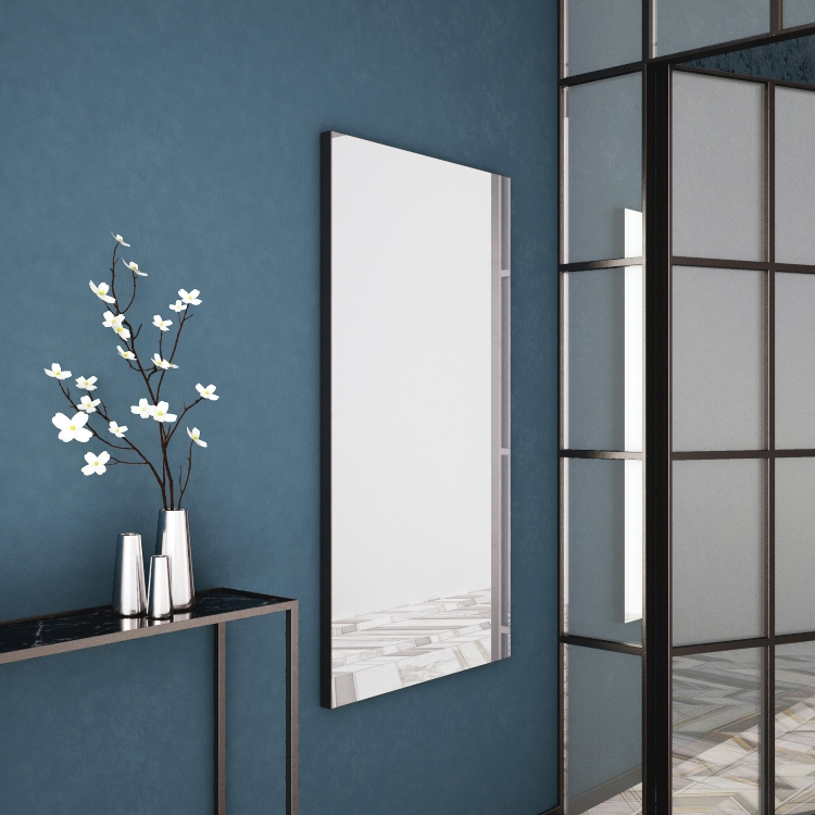 Bathroom Origins Tate Mirror in Black in bathroom with ornament, blue wall and crittall style door