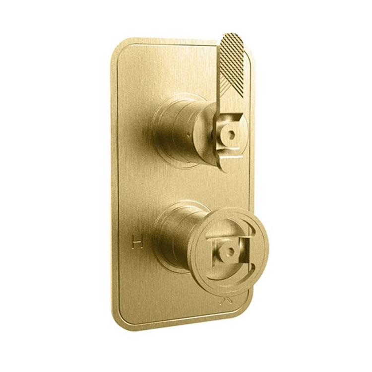 Photo Of Crosswater Union Brushed Brass Thermostatic Lever Shower Valve