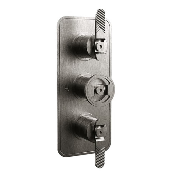 Photo Of Crosswater Union Brushed Black Chrome Lever Shower Valve With 3 Way Diverter