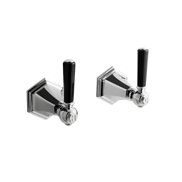 Photo of Crosswater Waldorf Black Lever Wall Stop Taps