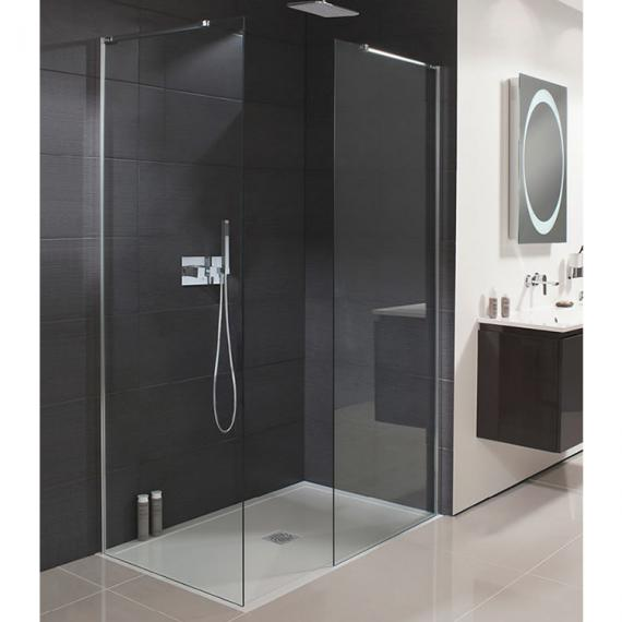 Design side panel silver sanctuary bathrooms for Wet room shower screen 400mm
