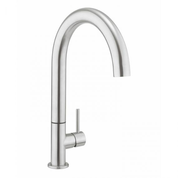 Crosswater Cucina Tube Stainless Steel Round Side Lever Kitchen Mixer