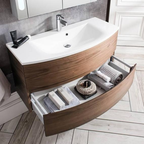 Svelte American Walnut 100 Vanity Unit & Basin