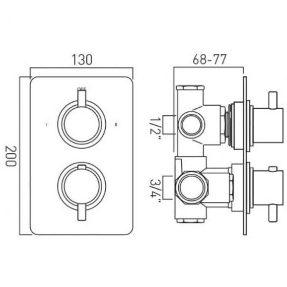 Vado Celsius Twin Outlet Shower Valve Dimesions Image