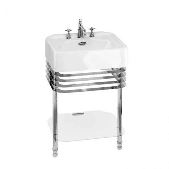 Arcade Chrome 600mm Basin with Wash Stand & Glass Shelf