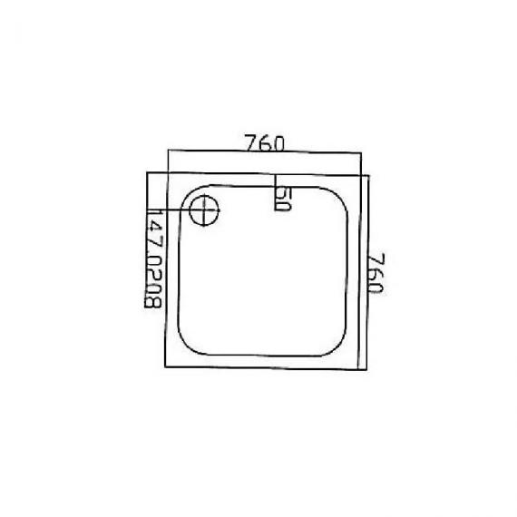 Blu-Gem2 760 x 760 Square Shower Tray Specification